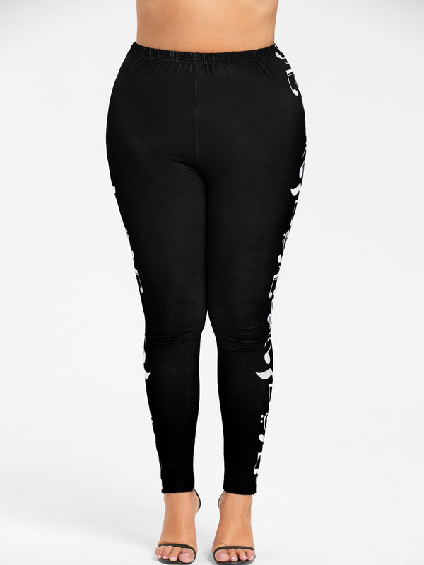 Plus Size Monochrome Music Notes Leggings