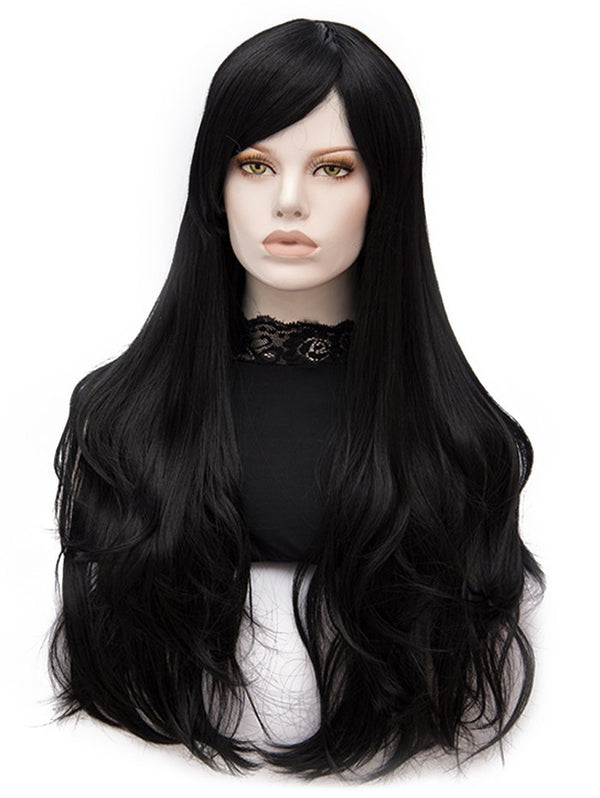Long Side Bang Slightly Curly Heat Resistant Synthetic Wig