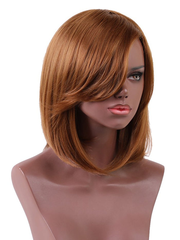 Short Oblique Bang Straight Bob Heat Resistant Synthetic Wig
