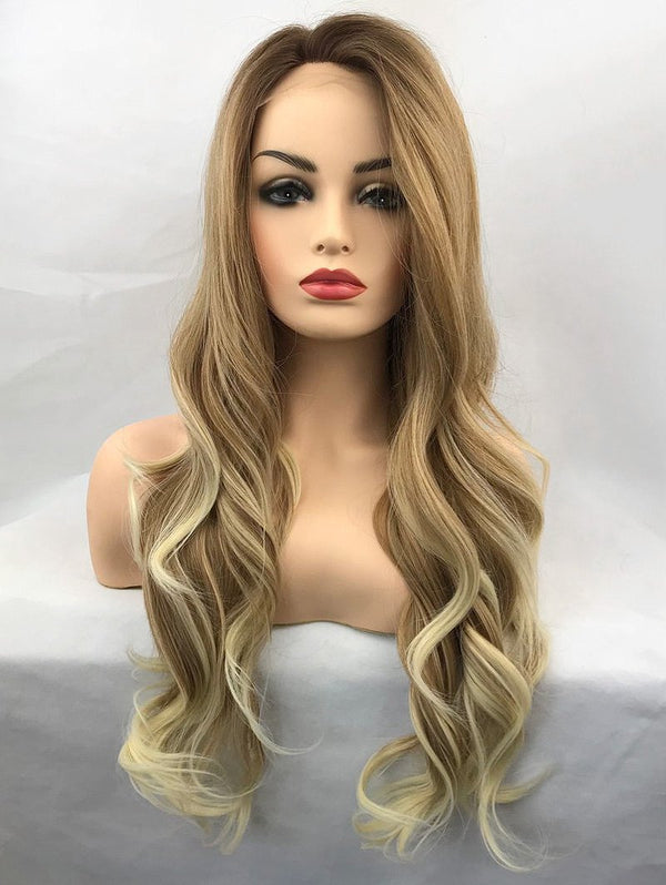 Long Side Bang Colormix Wavy Lace Front Synthetic Wig