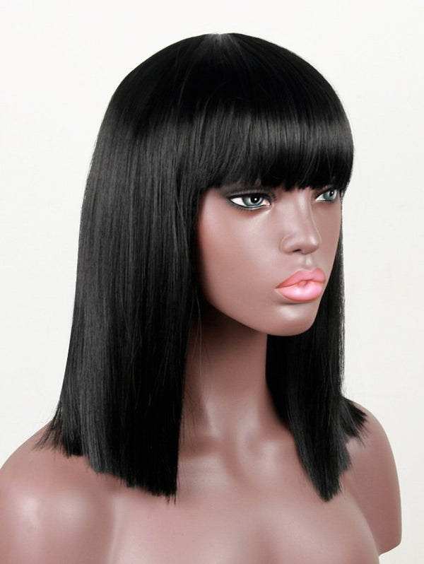 Medium Full Bang Shoulder Length Straight Synthetic Wig