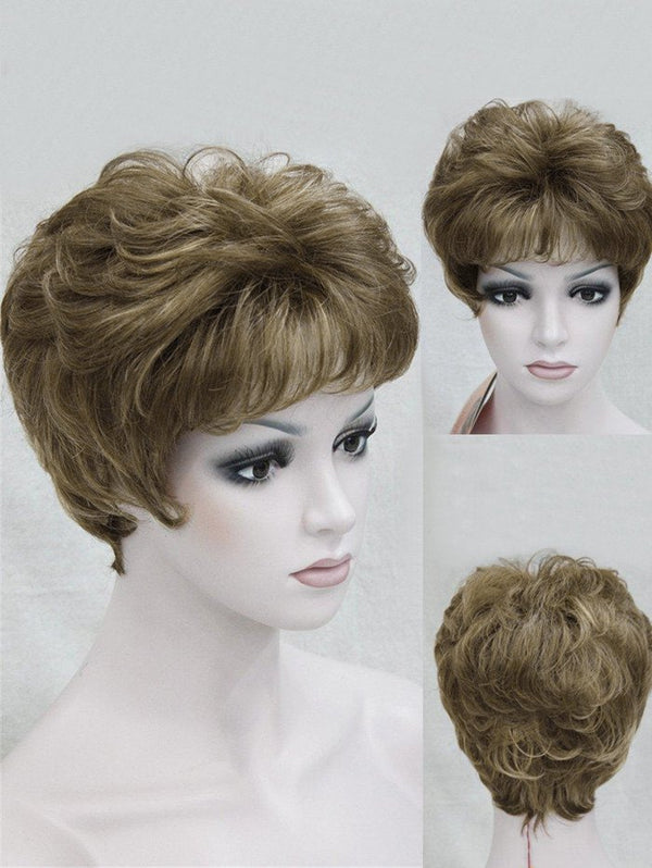 Short Side Bang Fluffy Slightly Curly Synthetic Wig