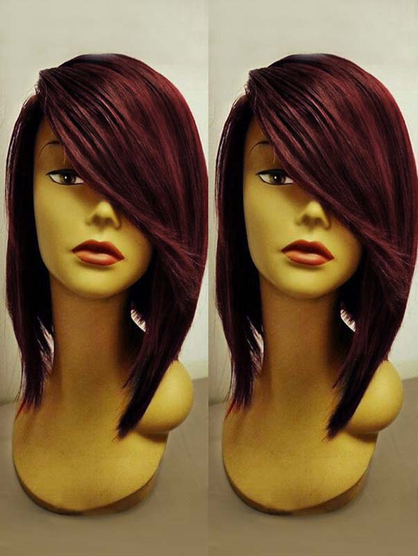 Short Side Bang Colormix Straight Party Synthetic Wig