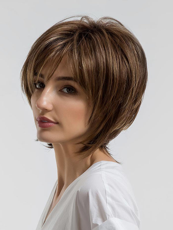 Short Side Bang Colormix Layer Straight Synthetic Wig