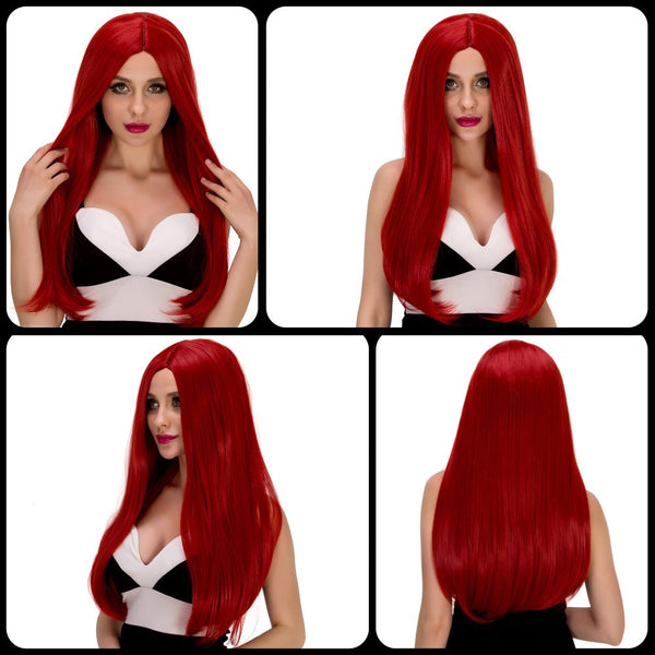 Stunning Long Straight Middle Part Red Synthetic Party Wig For Women
