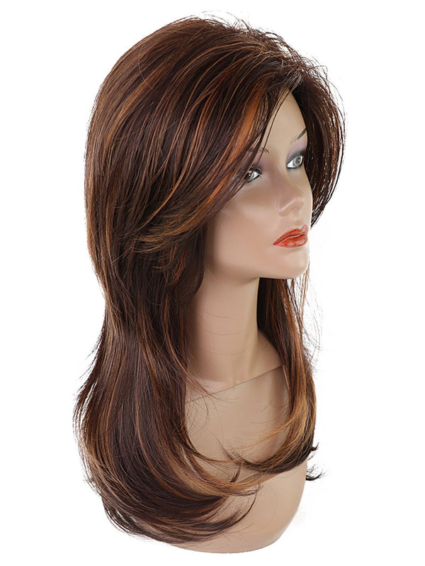 Long Side Bang Colormix Layered Straight Synthetic Wig