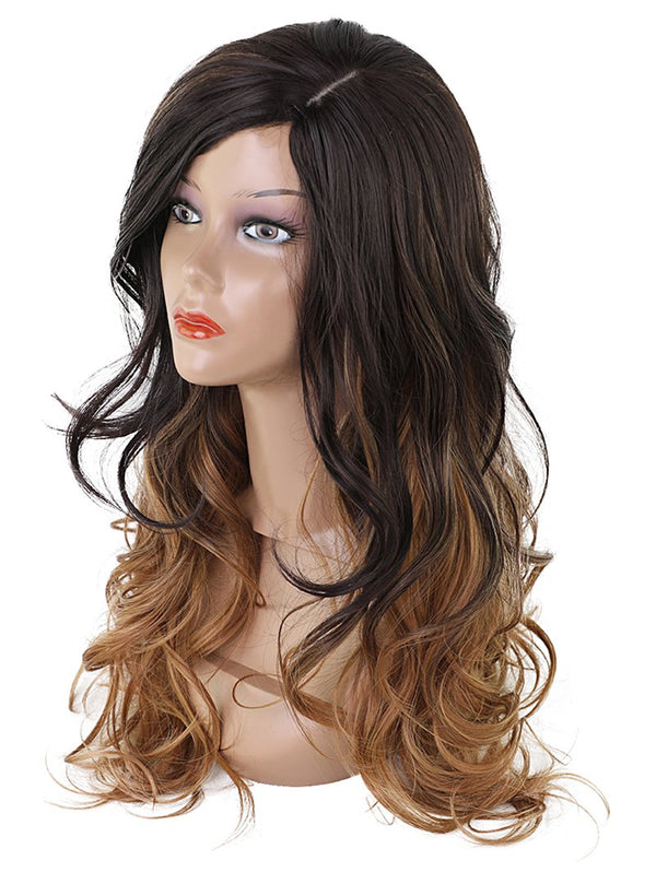 Long Oblique Fringe Colormix Wavy Synthetic Wig