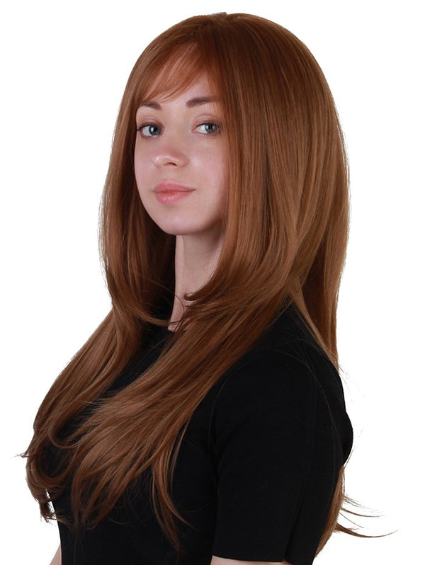 Long Oblique Bang Layered Straight Synthetic Party Wig