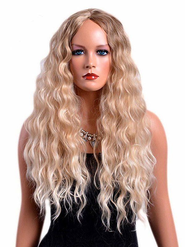 Long Center Parting Colormix Shaggy Wavy Synthetic Wig