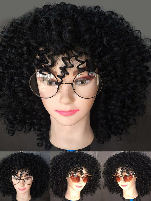 Medium Oblique Bang Afro Kinky Curly Synthetic Wig