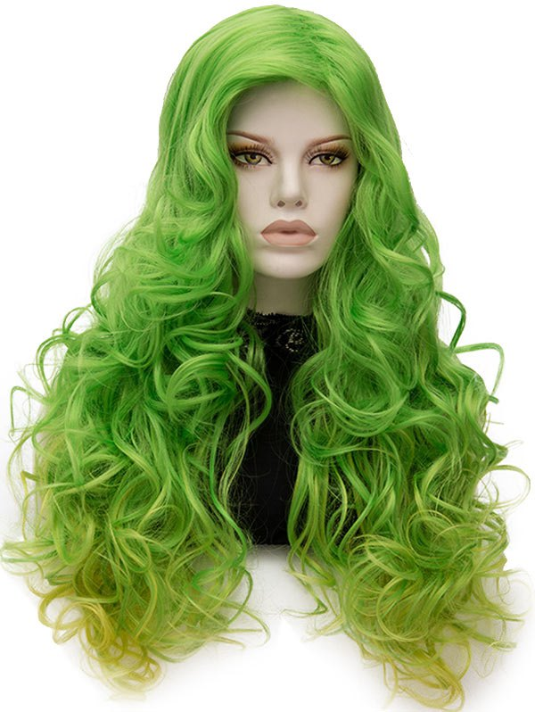 Long Inclined Bang Colormix Curly Party Synthetic Wig