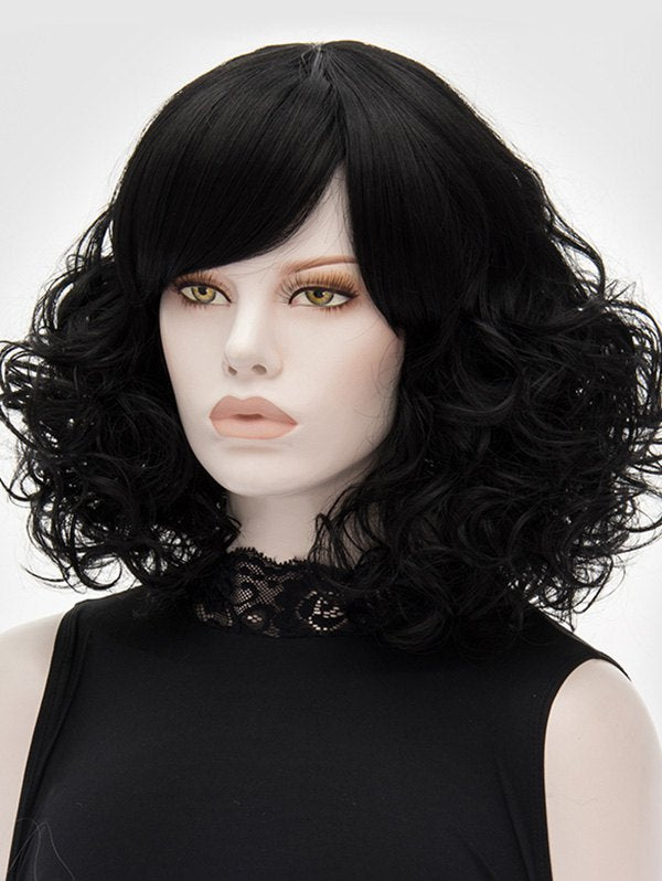 Medium Oblique Bang Curly Heat Resistant Synthetic Wig