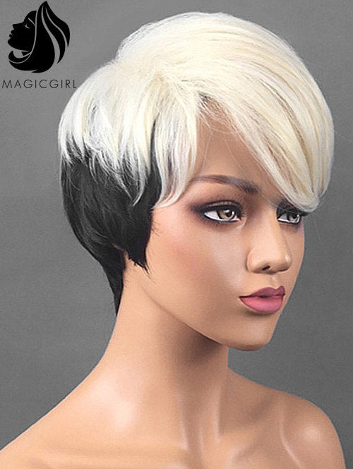 Short Side Bang Two Tone Straight Synthetic Cosplay Wig
