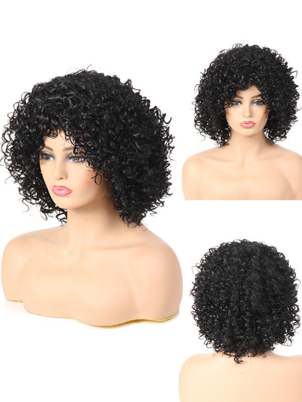 Medium Full Bang Fluffy Kinky Curly Synthetic Wig