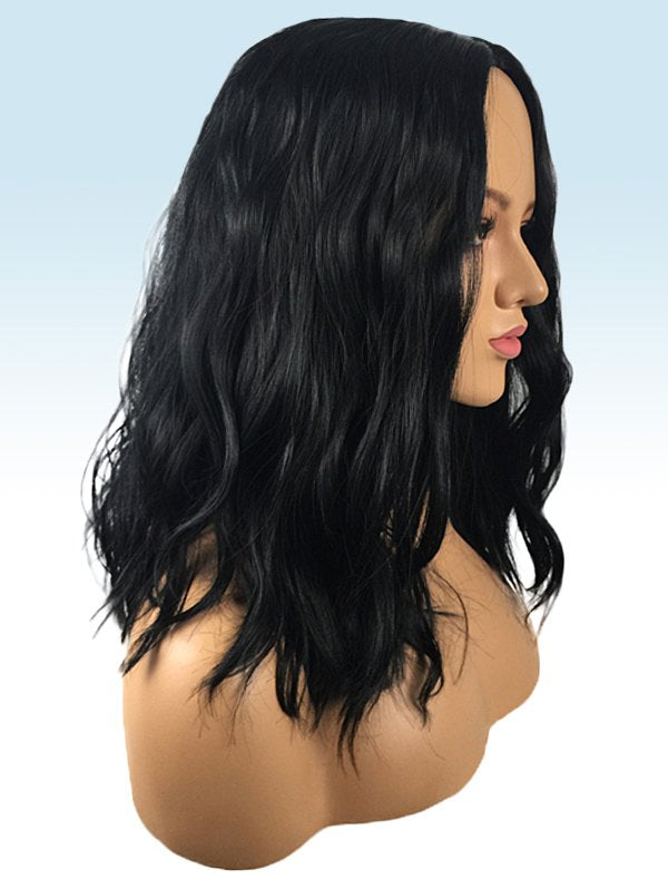 Center Parting Medium Natural Wavy Capless Synthetic Wig