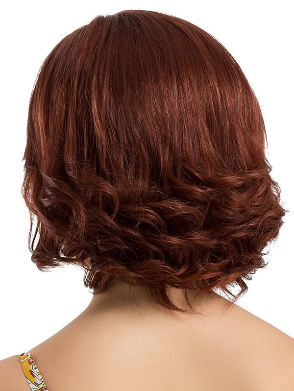 Short Inclined Bang Slightly Curly Party Human Hair Wig