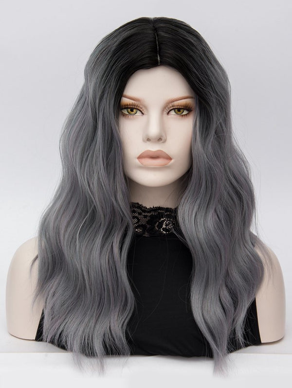Middle Part Long Natural Wavy Colormix Synthetic Wig