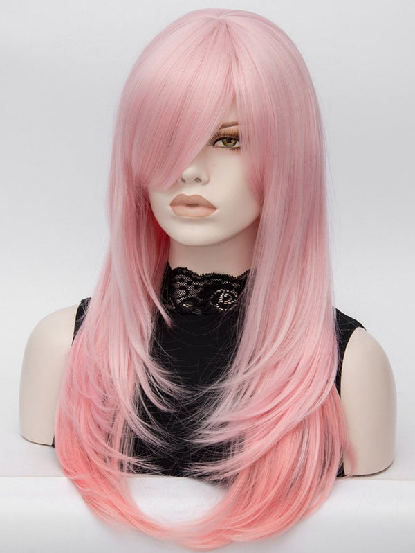 Long Side Bang Layered Colormix Straight Lolita Synthetic Wig