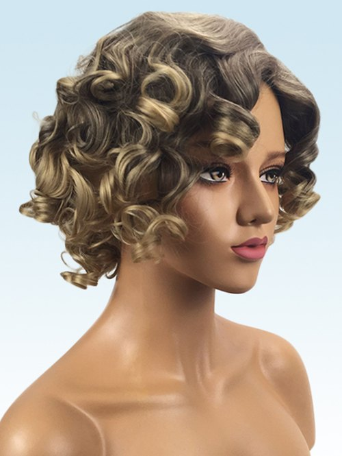 Short Side Bang Colormix Big Curly Synthetic Wig
