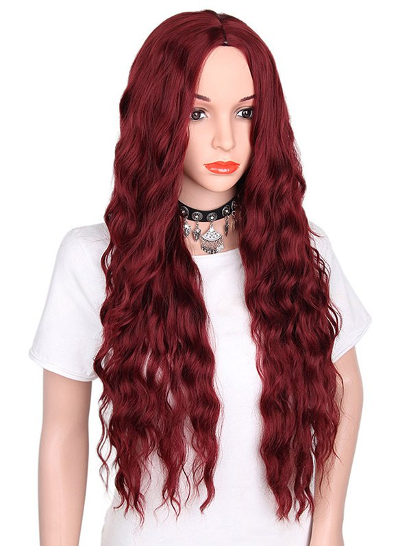 Center Parting Long Natural Wavy Party Synthetic Wig