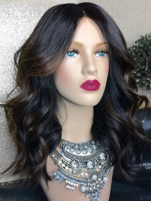 Long Middle Part Highlighted Wavy Synthetic Wig
