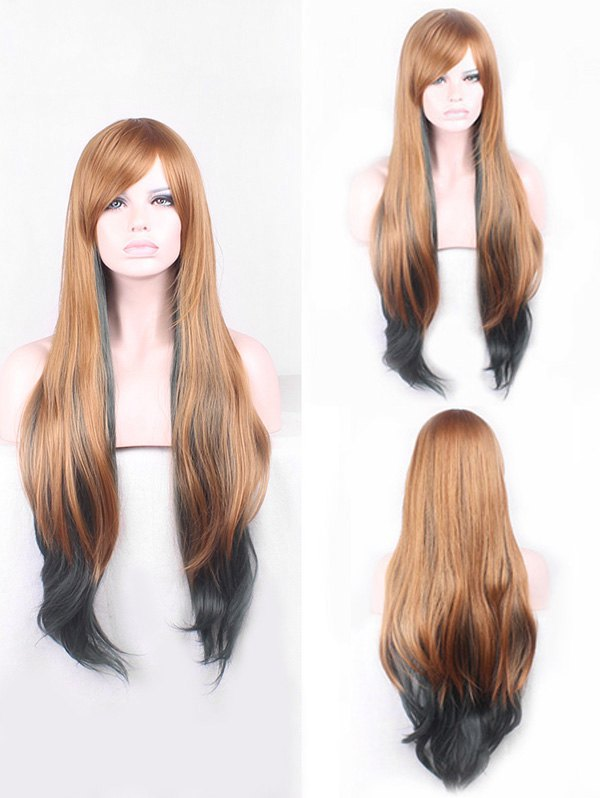 Long Side Bang Colormix Straight Cosplay Synthetic Wig