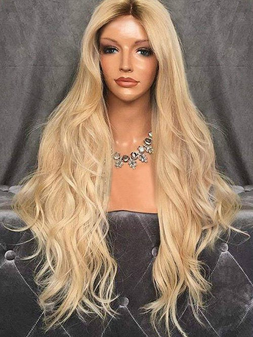 Long Wavy Capless Synthetic Wig with Center Parting