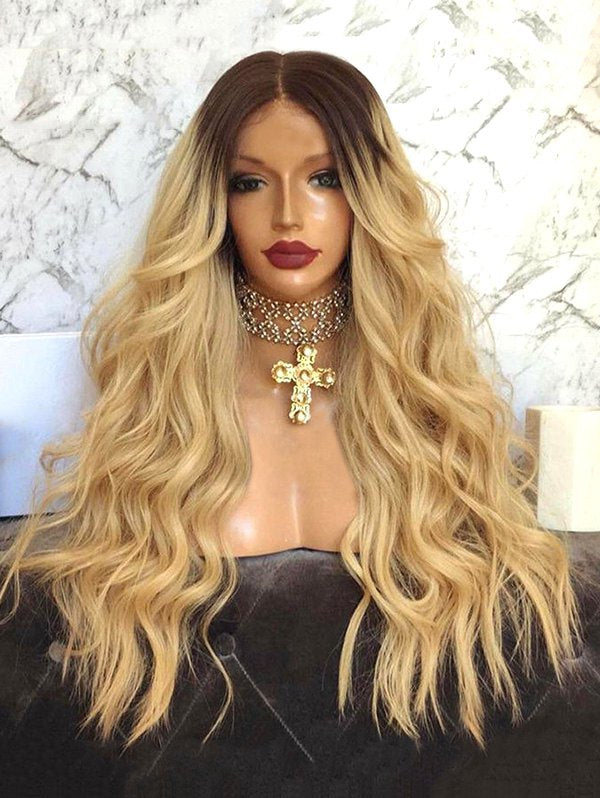 Middle Part Ombre Long Wavy Synthetic Wig