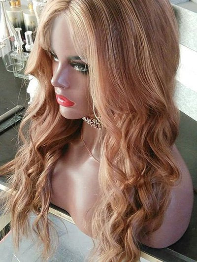 Center Parting Long Colormix Wavy Synthetic Wig