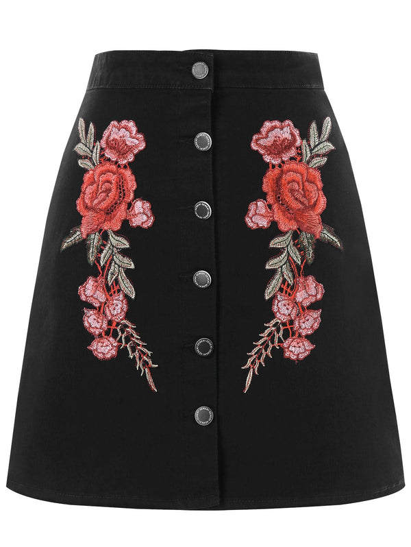 Embroidered Buttoned Mini Skirt