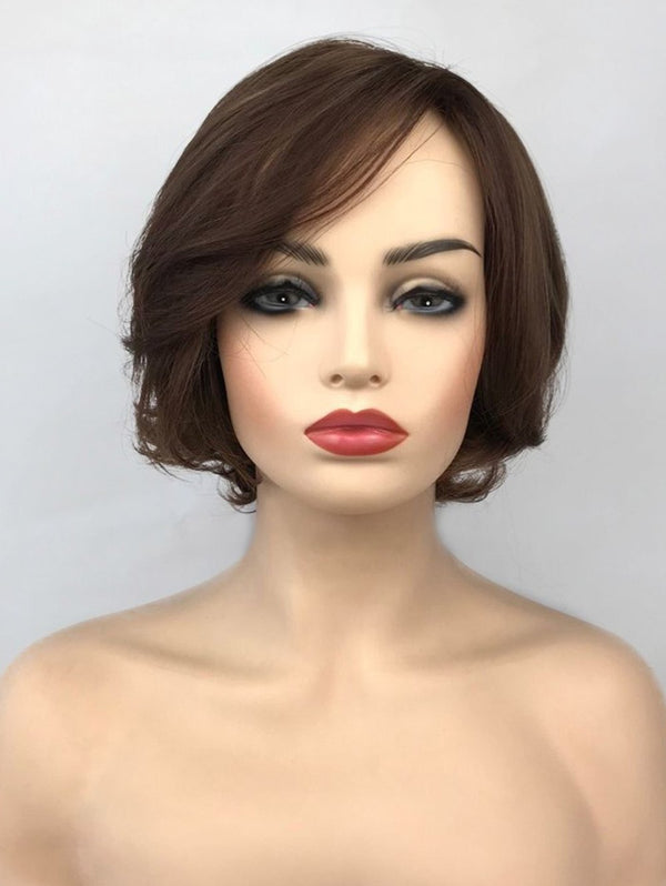 Inclined Bang Straight Short Colormix Capless Synthetic Wig