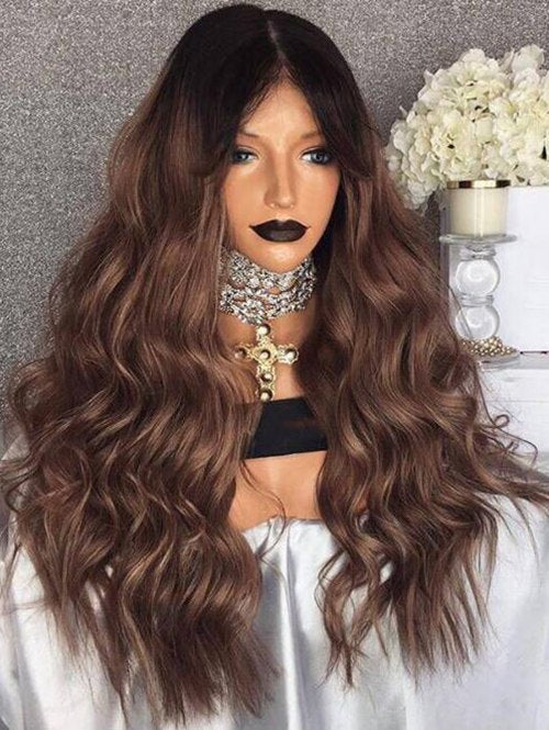 Center Parting Ombre Long Wavy Heat Resistant Synthetic Wig