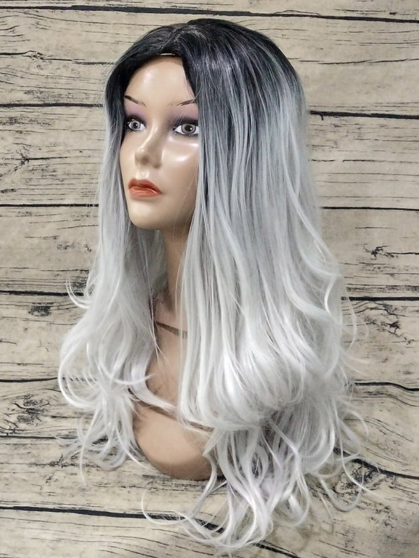 Center Parting Long Colormix Wavy Capless Synthetic Wig