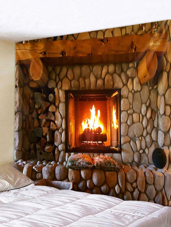 Christmas Fireplace Pattern Wall Tapestry
