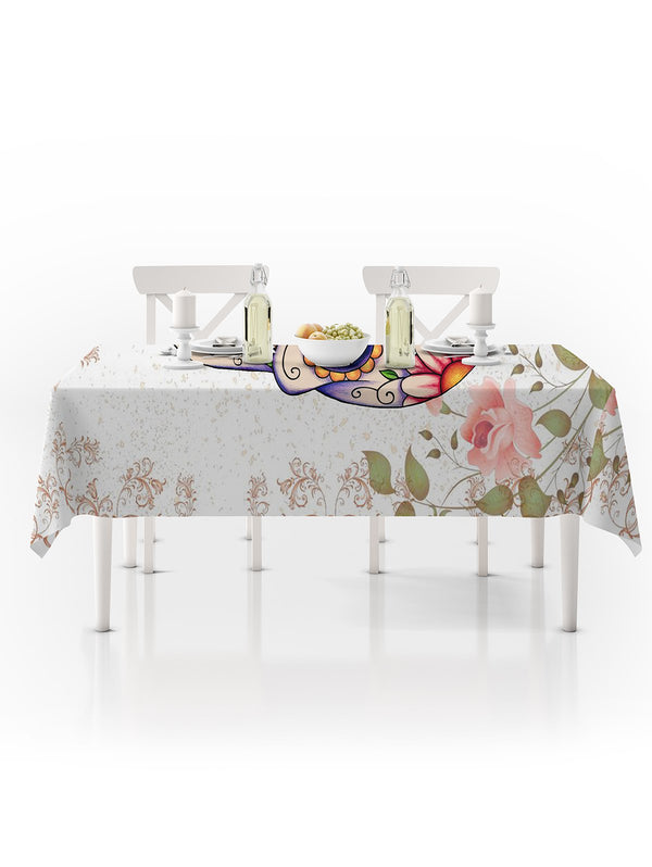 Halloween Skull Floral Print Waterproof Fabric Tablecloth