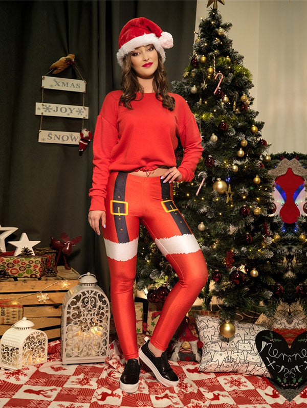 Womens Chic Ugly Santa Christmas Leggings Funny Costume Tights