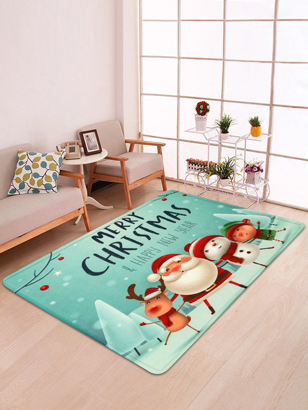 Joyful Santa Claus Snowman Decorative Floor Mat
