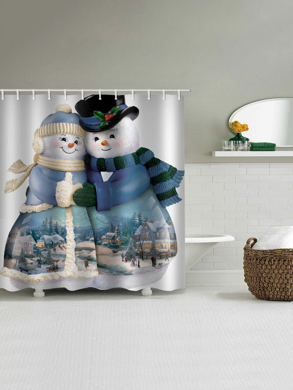 Christmas Snowman Couple Print Waterproof Bath Curtain