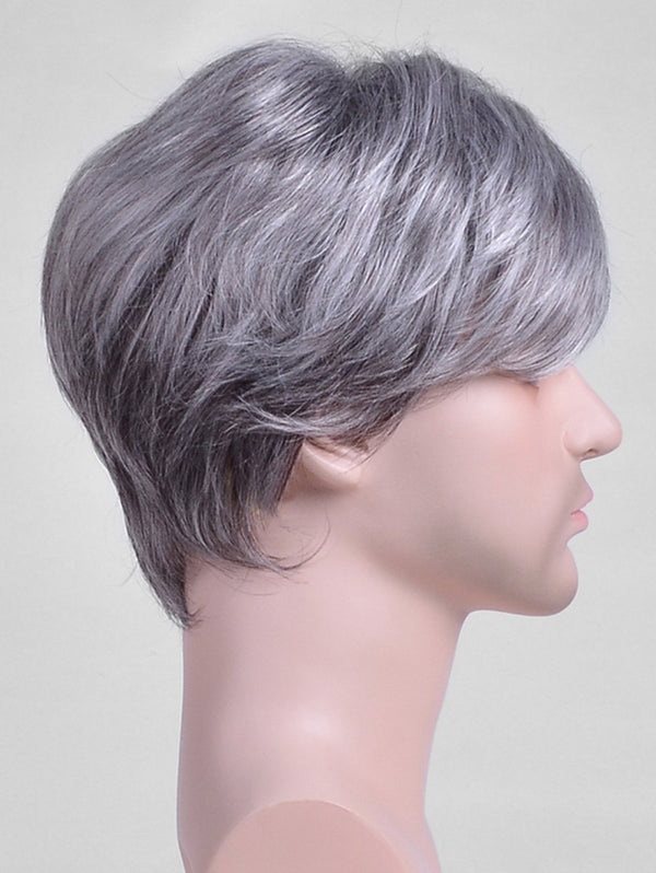 Short Side Bang Straight Capless Synthetic Men Wig