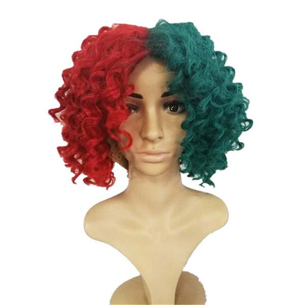 SIA Cosplay Party Wig Half Red and Green Synthetic Hair Hallowen Christmas Gift