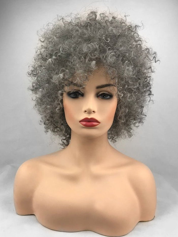 Side Bang Fluffy Short Afro Curly Synthetic Wig