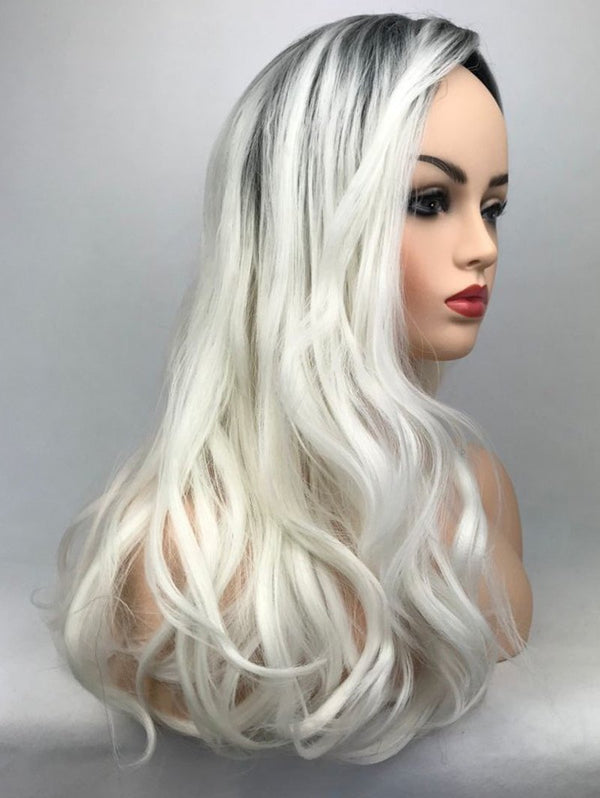Inclined Bang Long Ombre Wavy Party Synthetic Wig