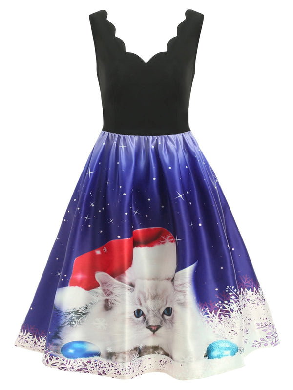 Christmas White Cat Print Sleeveless Flare Dress