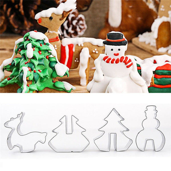 8PCS/SET Christmas Series Cookie Cutter Mold 3D Biscuit Dessert Baking Mould