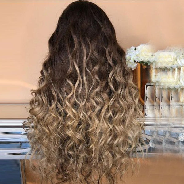 Women'S Synthetic Hair Wig Elegant Stylish Long Curly Design Hair Wig