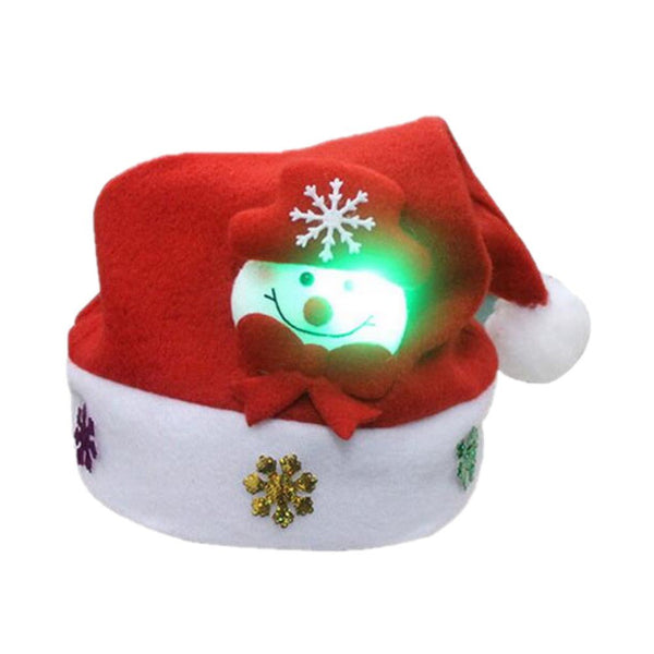 Christmas Hat for Children and Adults Non-Woven Pleuche Snowman Hats with Light