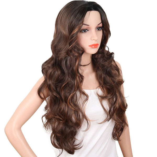 Central Parting Hair Style Big Wave Gradient Ramp Long Wig