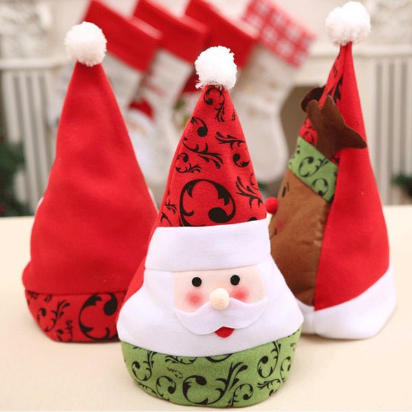 3Pcs Snowman Santa Claus Face Style Christmas Hat