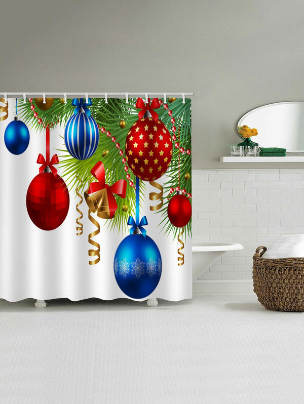 Christmas Bells Ball Pattern Waterproof Shower Curtain