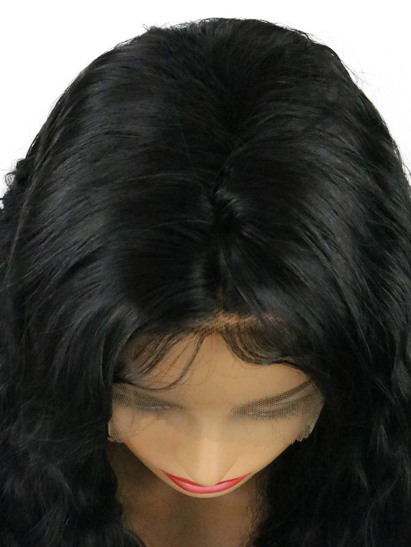 Long Middle Part Corn Hot Wavy Lace Front Synthetic Wig